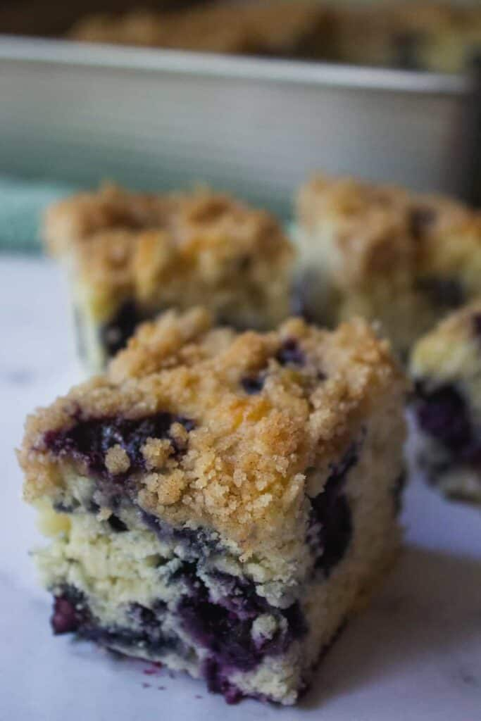up close view of blueberry buckle cake
