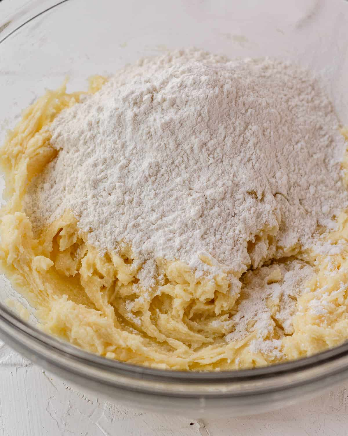 butter mixture with flour poured on top.