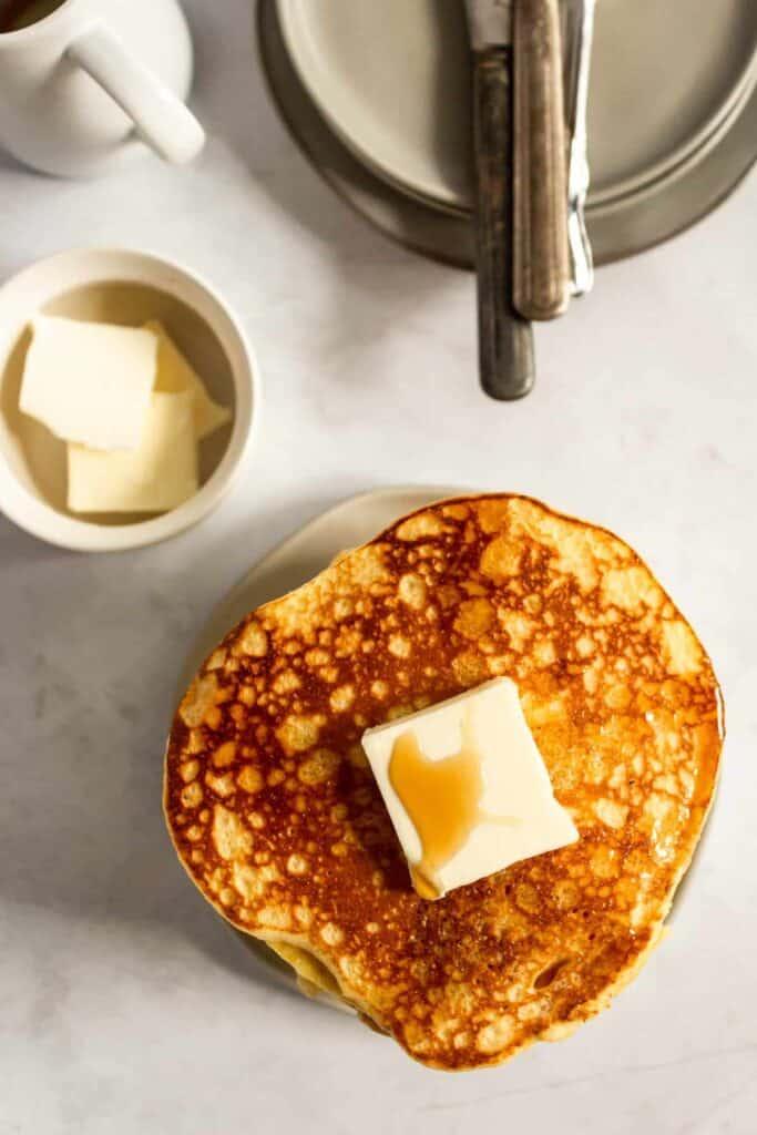 overhead shot of cornmeal pancakes