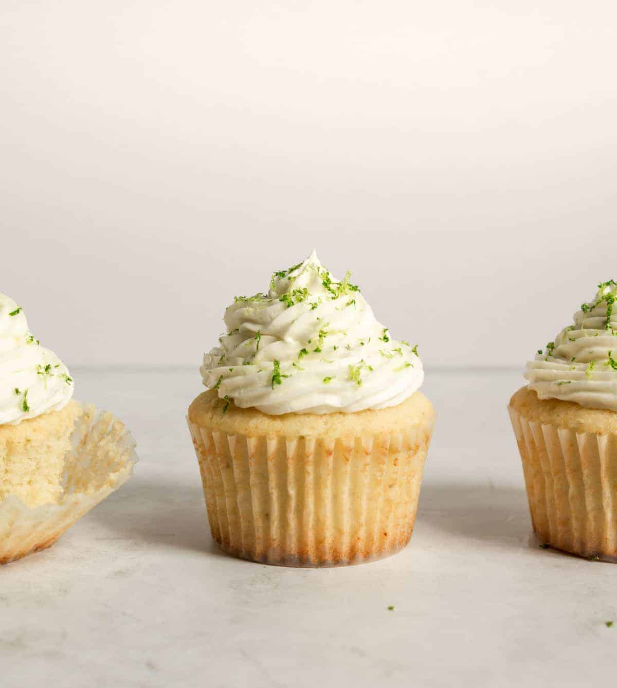 lined up cupcakes