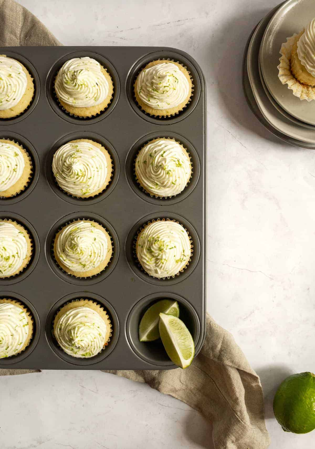 overhead view of key lime cupcakes