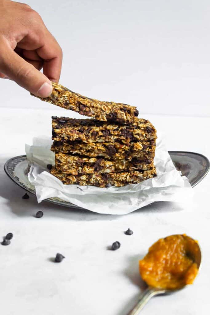 stack of pumpkin chocolate chip granola bars