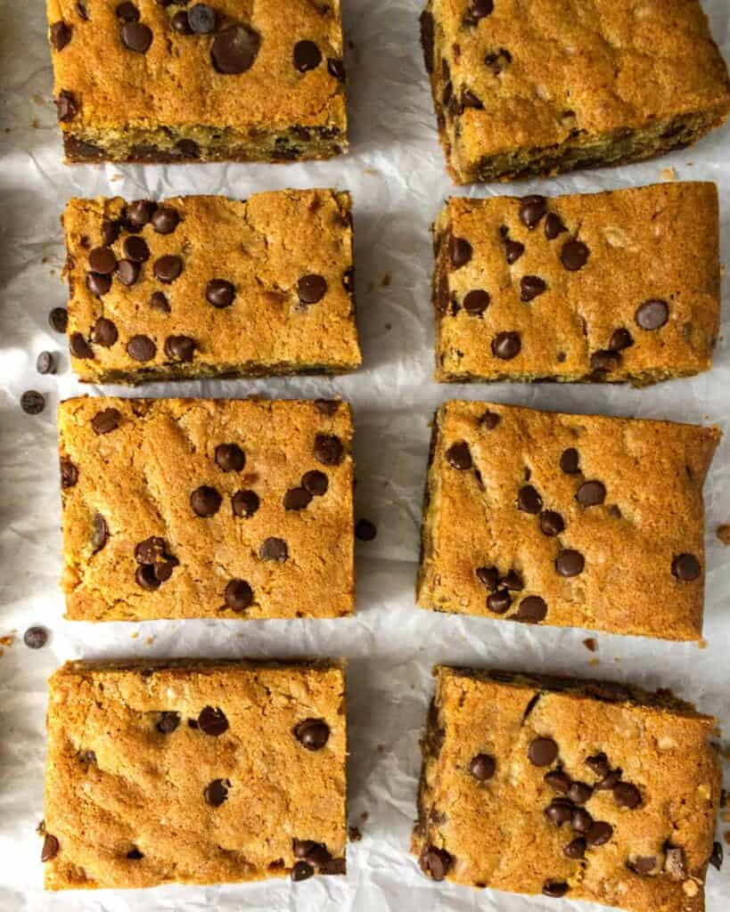 overhead shot of toffee chocolate chip cookie bars cut into bars