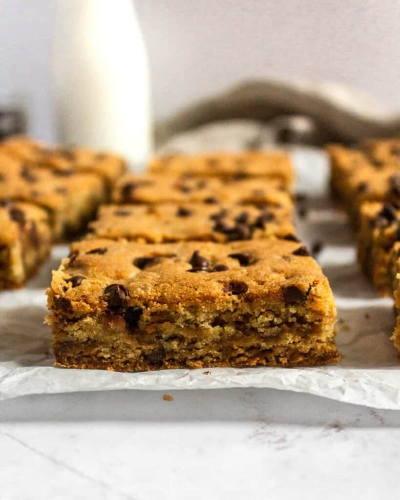 up close shot of the side of toffee chocolate chip cookie bar