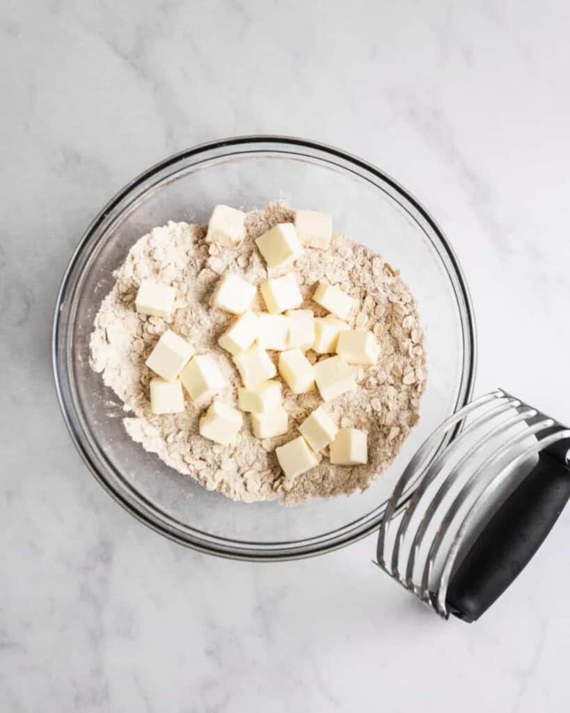 dry ingredients for the streusel with cubed butter.