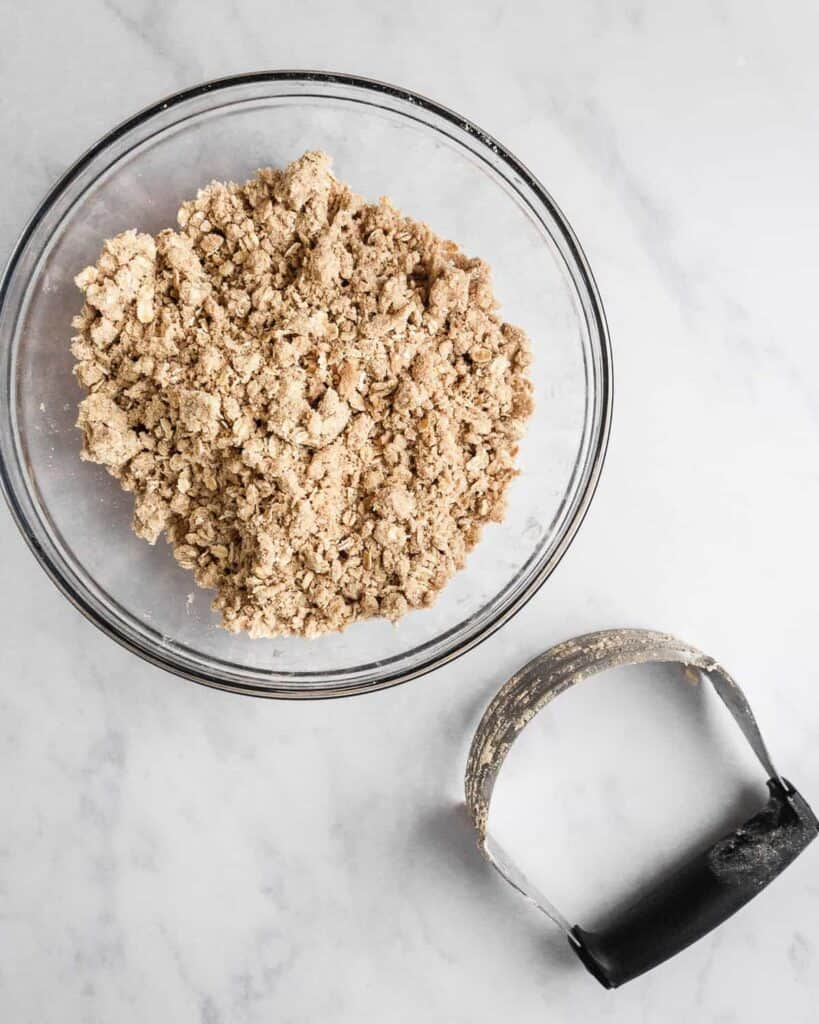 Used pastry cutter to make streusel topping