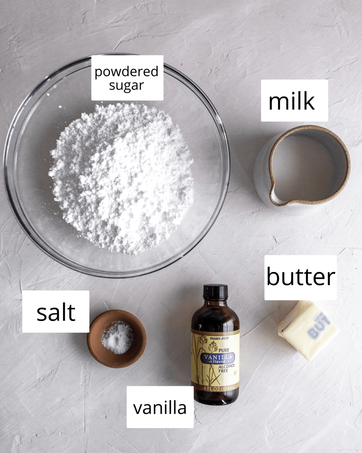 ingredients for brown butter icing