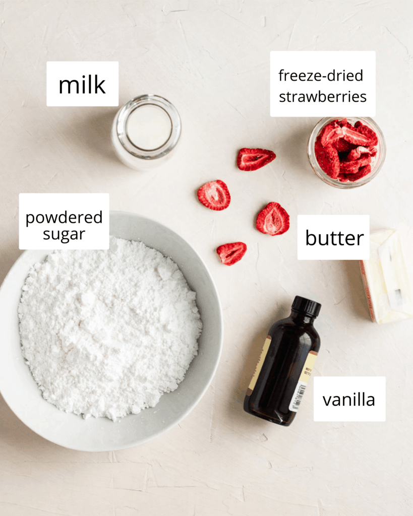 ingredients for the strawberry buttercream