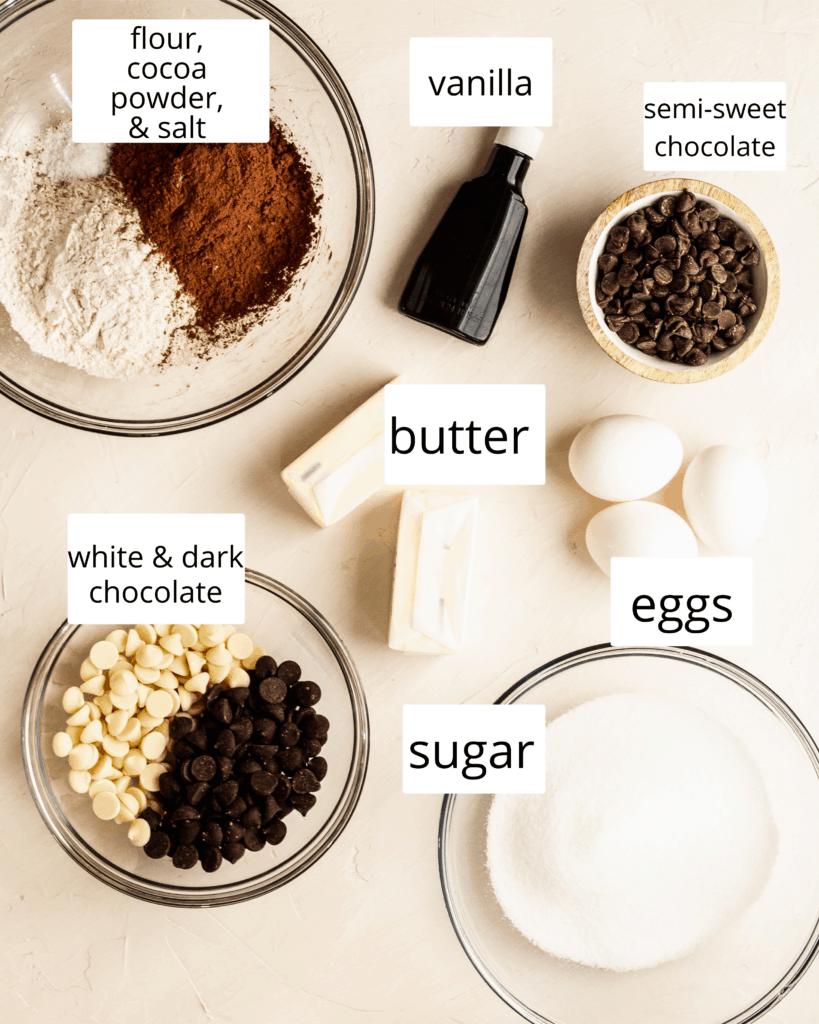 ingredients for triple chocolate brownies