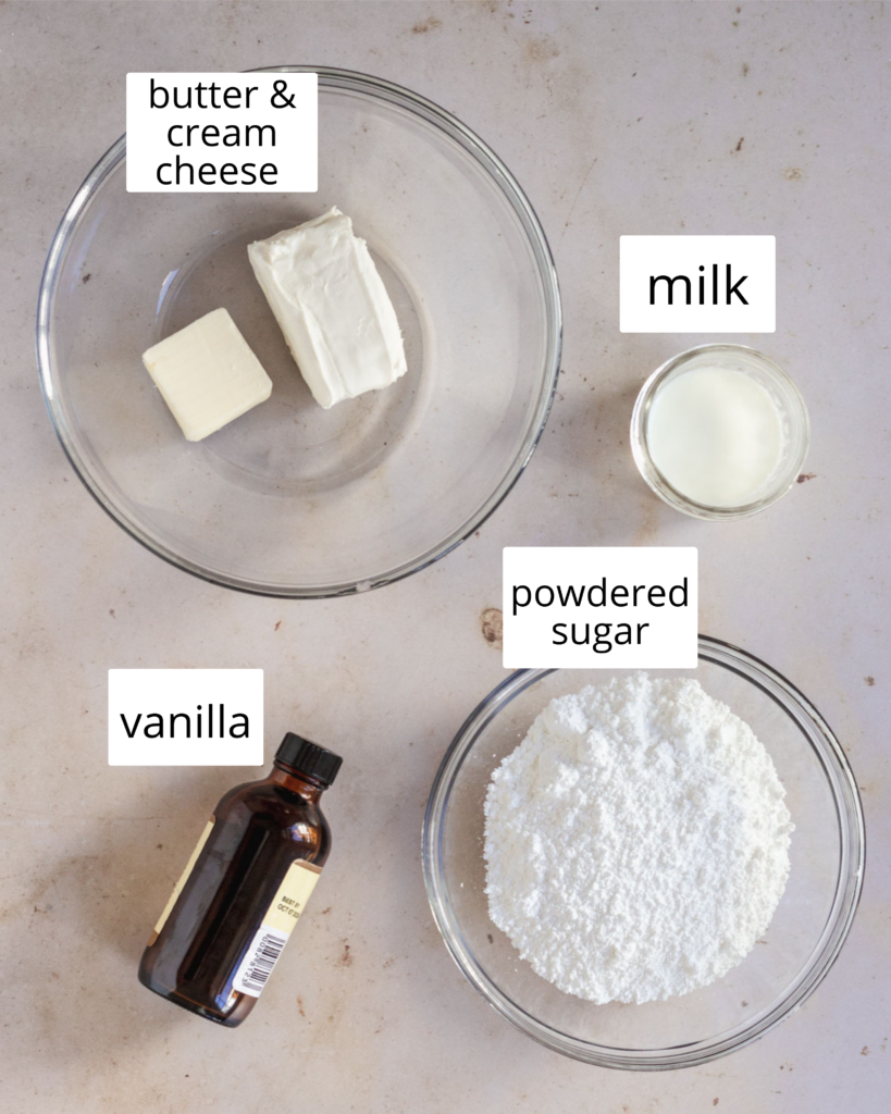 ingredients for cream cheese icing