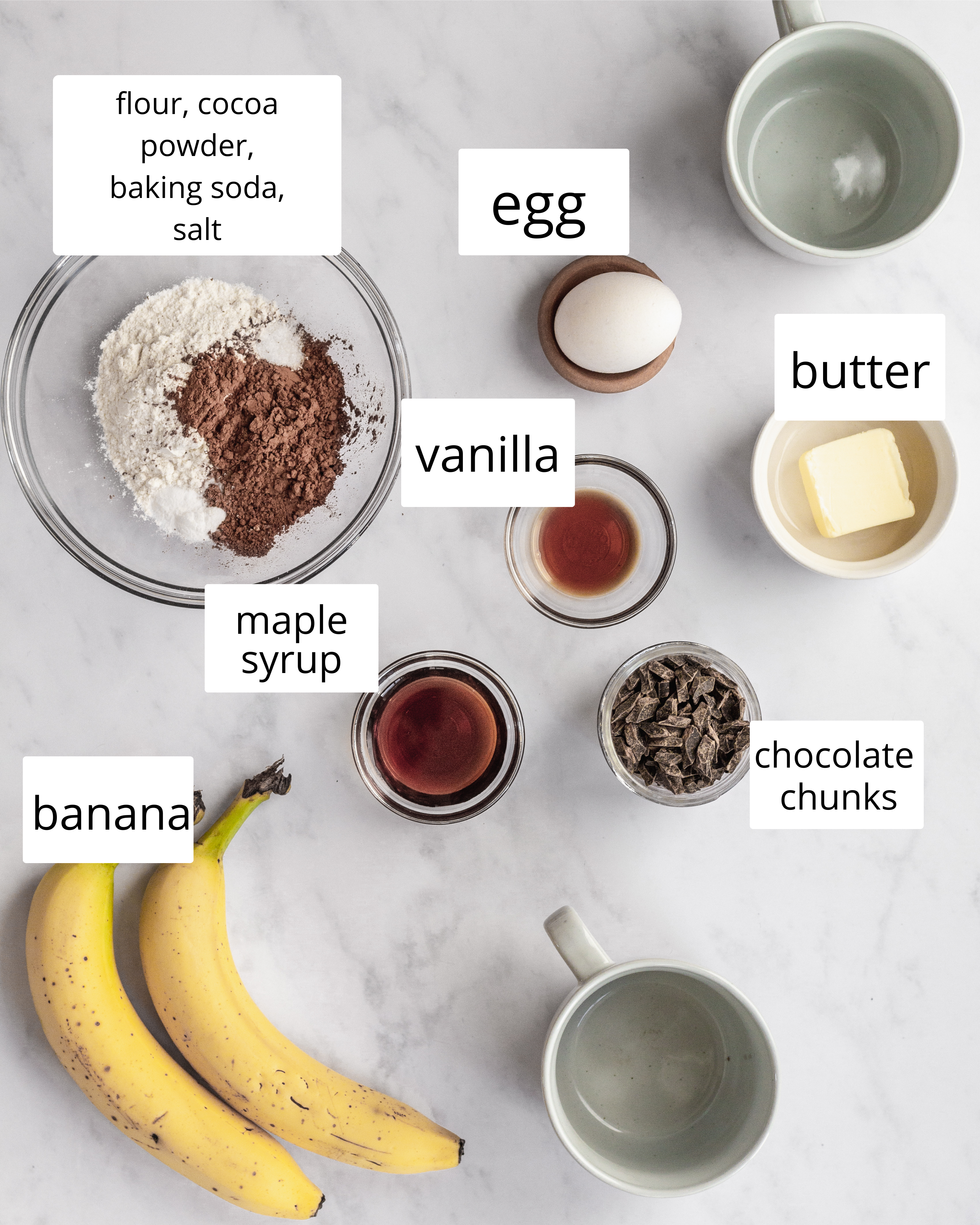 ingredients needed for mug cakes