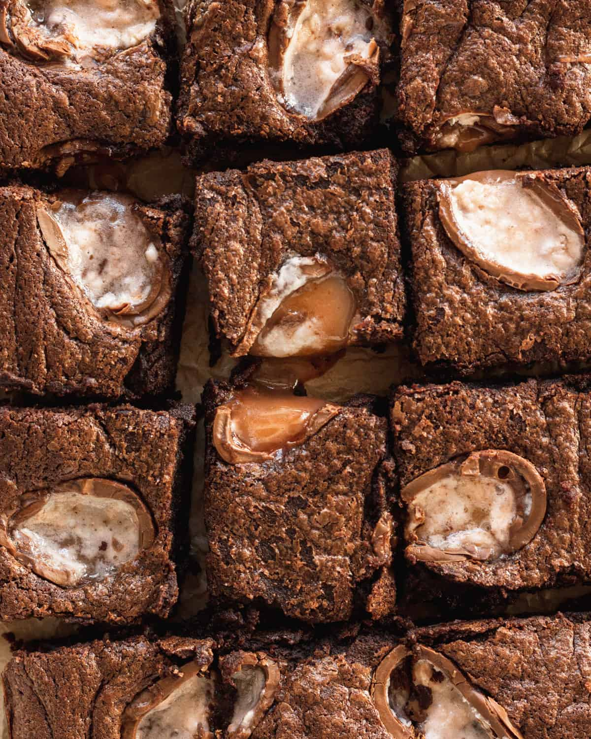up close of brownies cut up with cadbury creme eggs on top