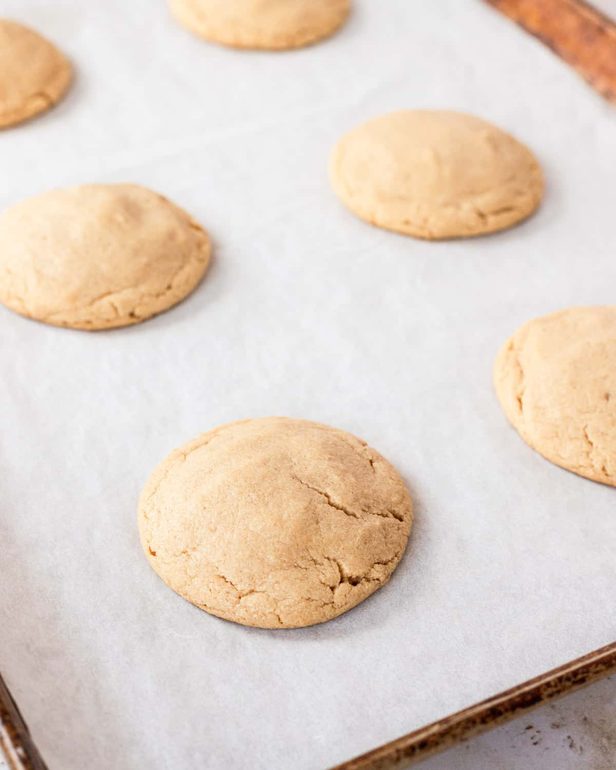 cookies after being baked on a cookie sheet