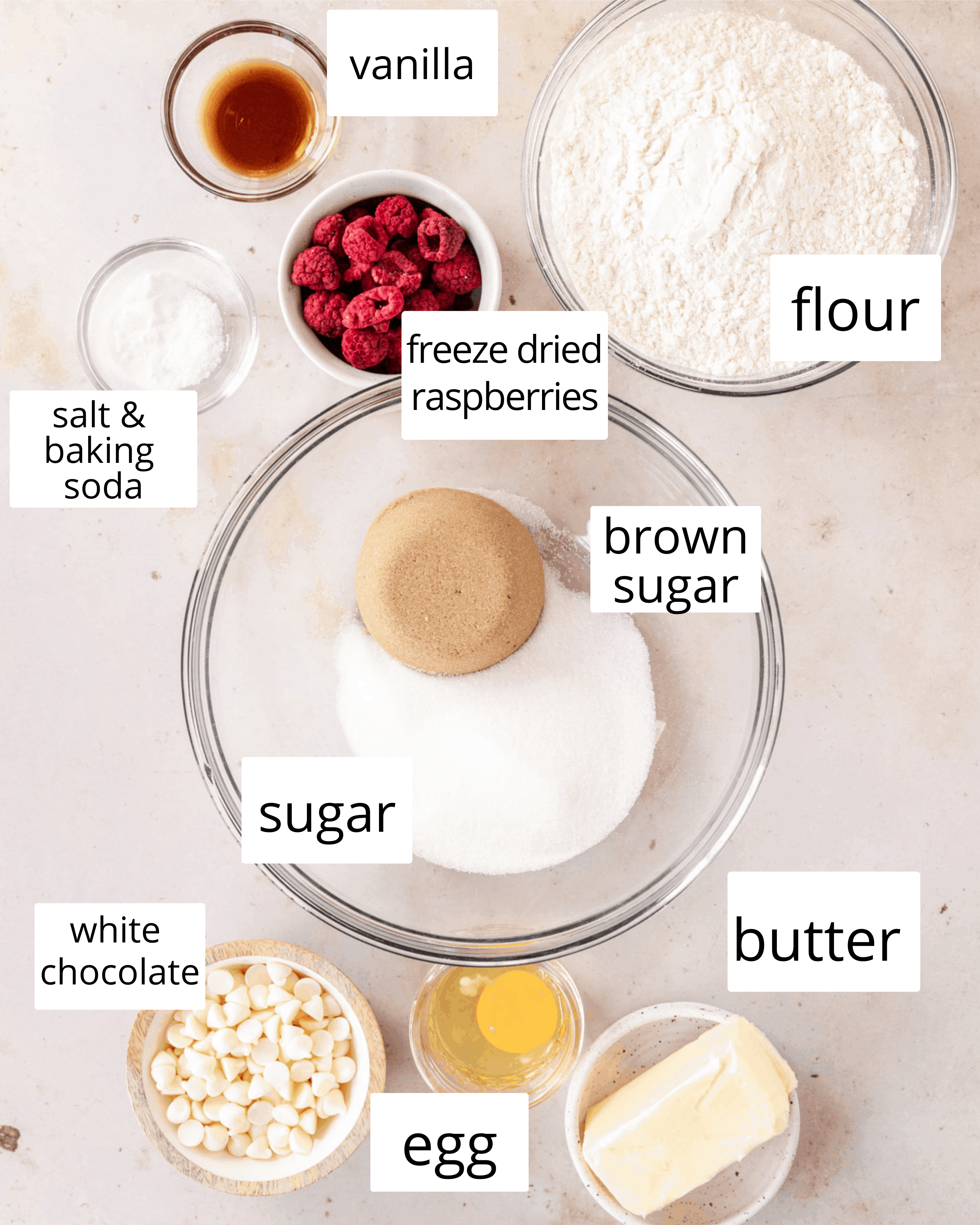 ingredients needed to make white chocolate and raspberry cookies