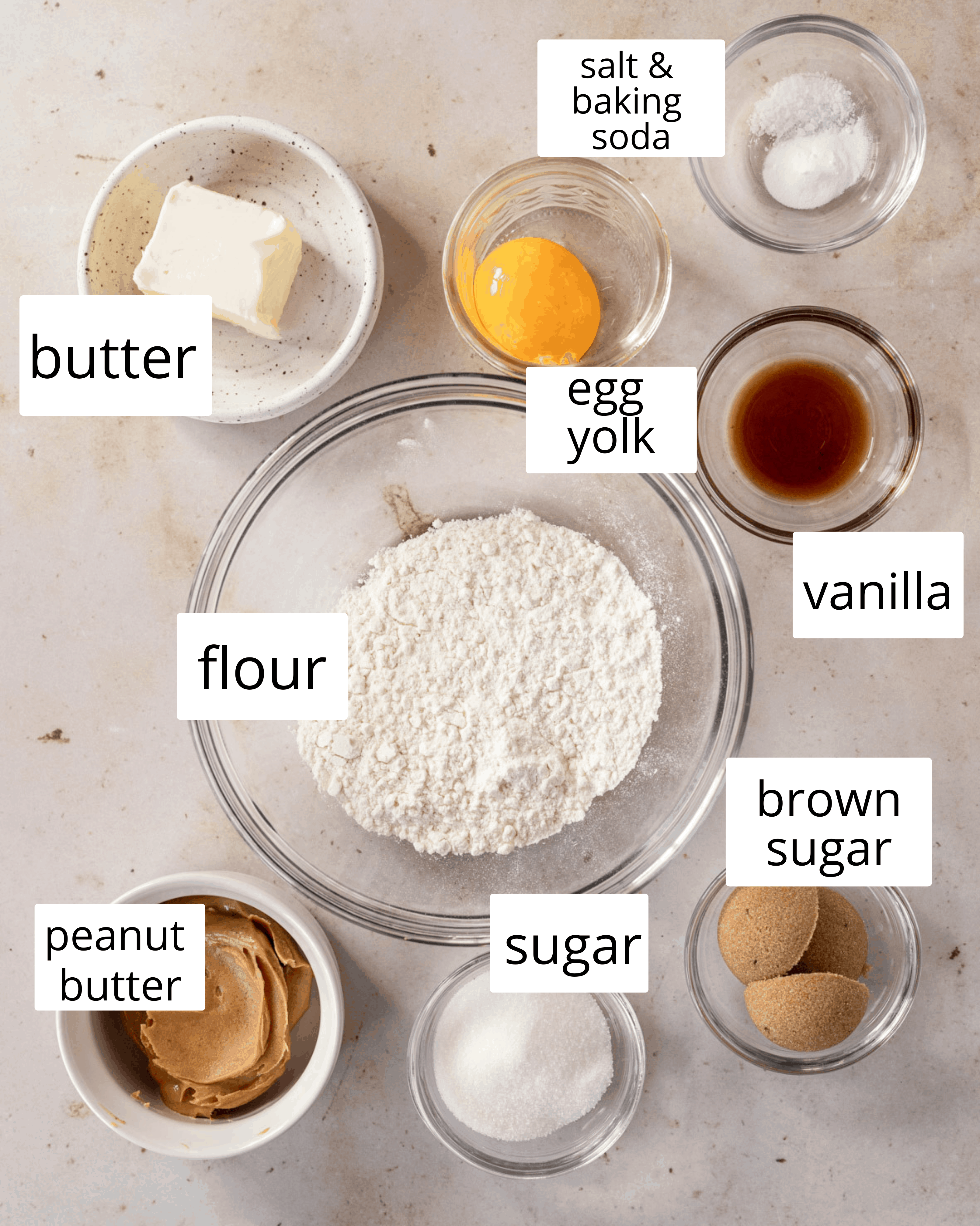 ingredients needed for these small-batch peanut butter cookies
