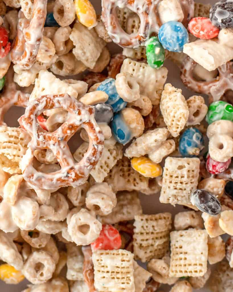 close up of white chocolate chex mix