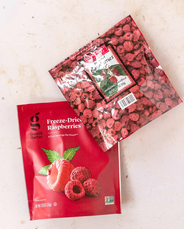 Bags of freeze dried raspberries