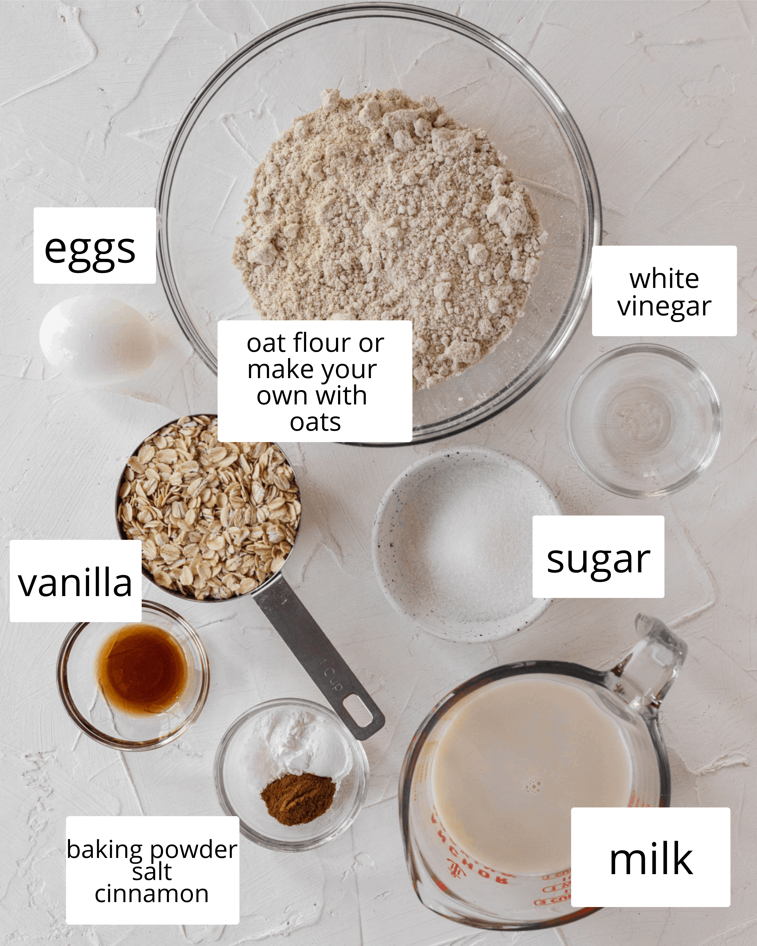 ingredients needed for these oat flour pancakes