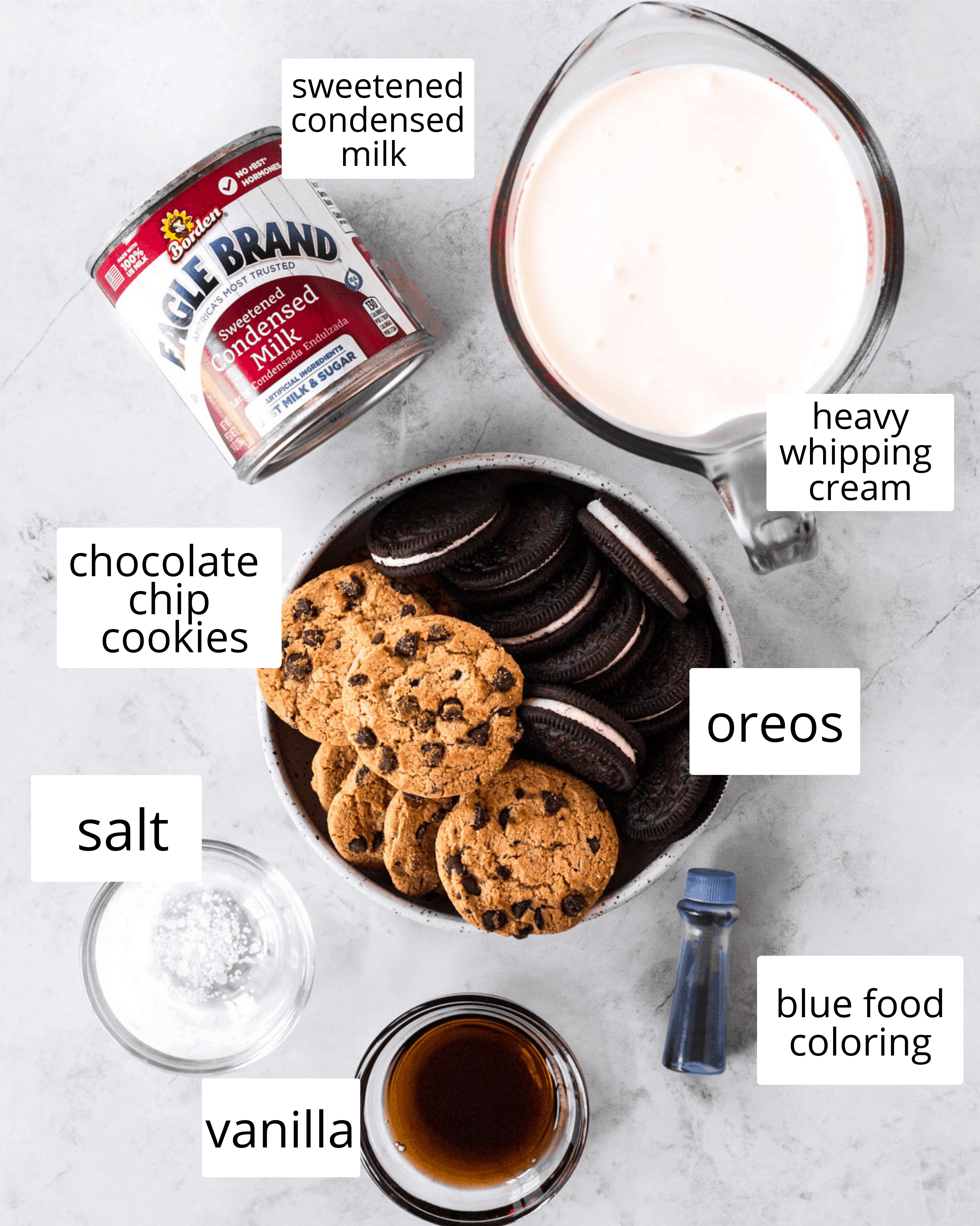ingredients needed to make cookie monster ice cream