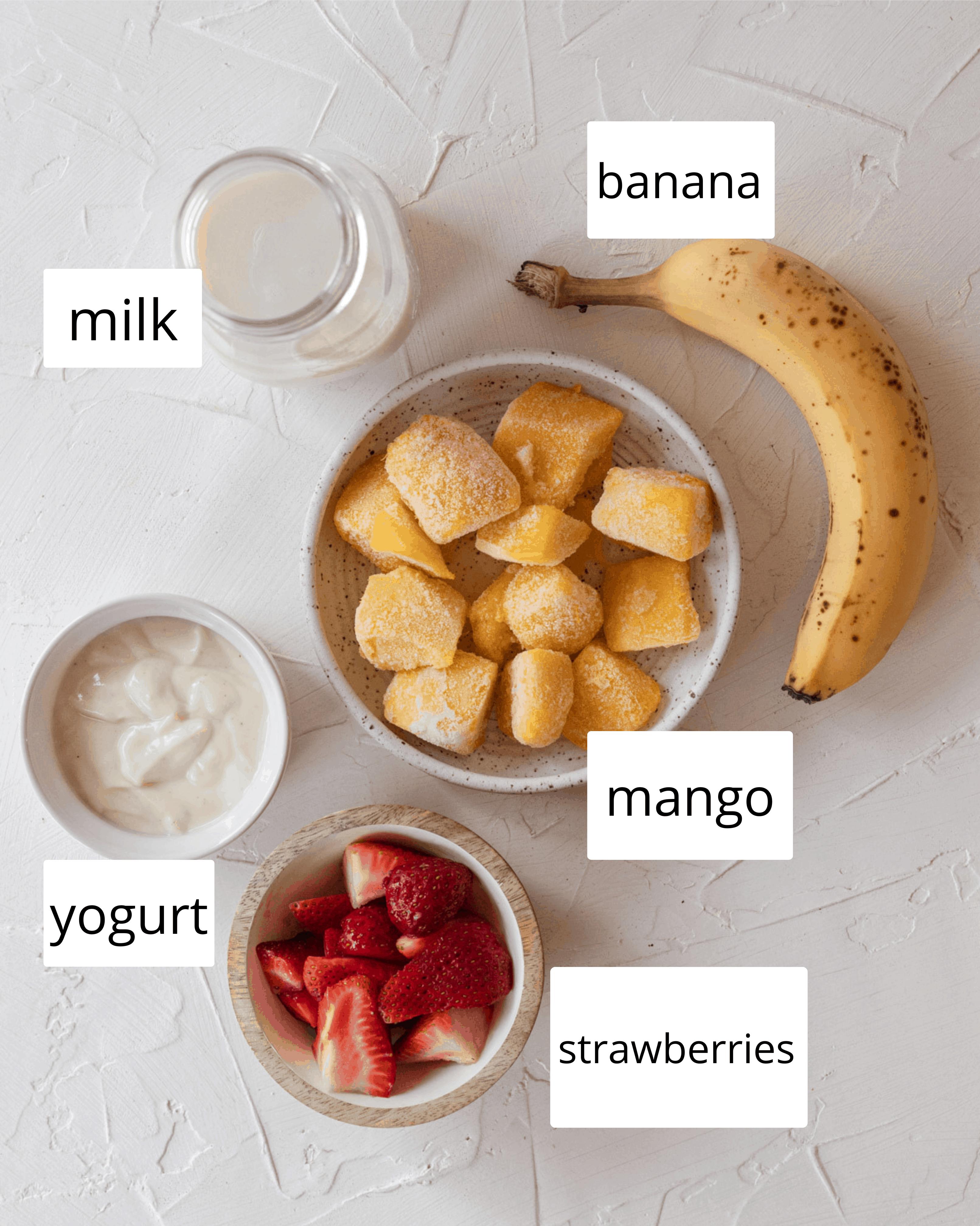 ingredients needed for mango strawberry banana smoothie