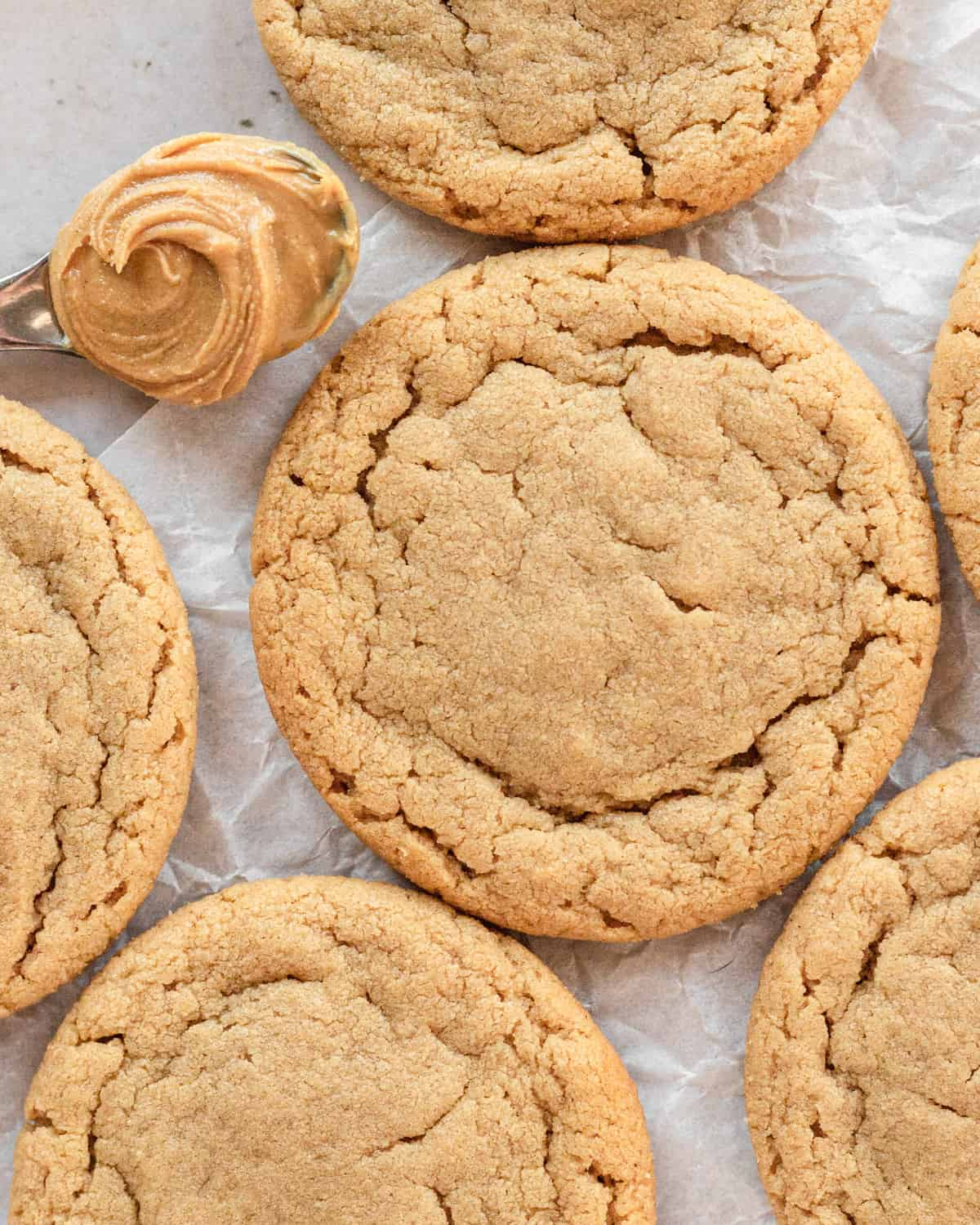 close up of small-batch peanut butter cookies with a spoon of peanut butter