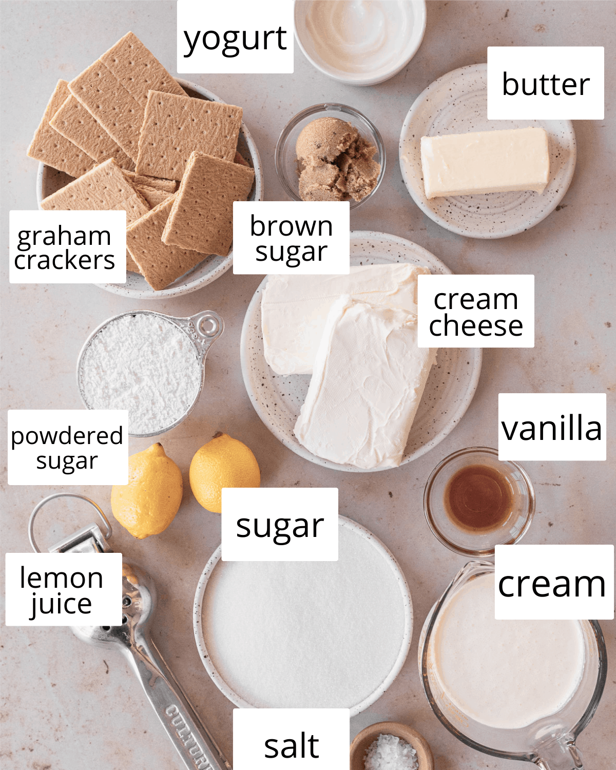 ingredients needed to make this no-bake cheesecake