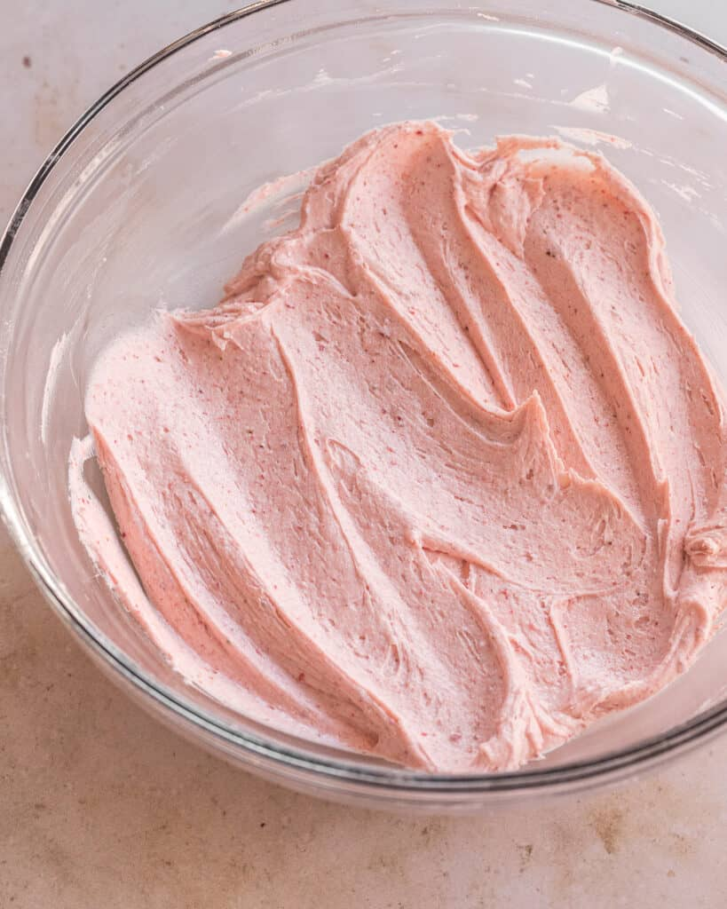 strawberry buttercream mixed together