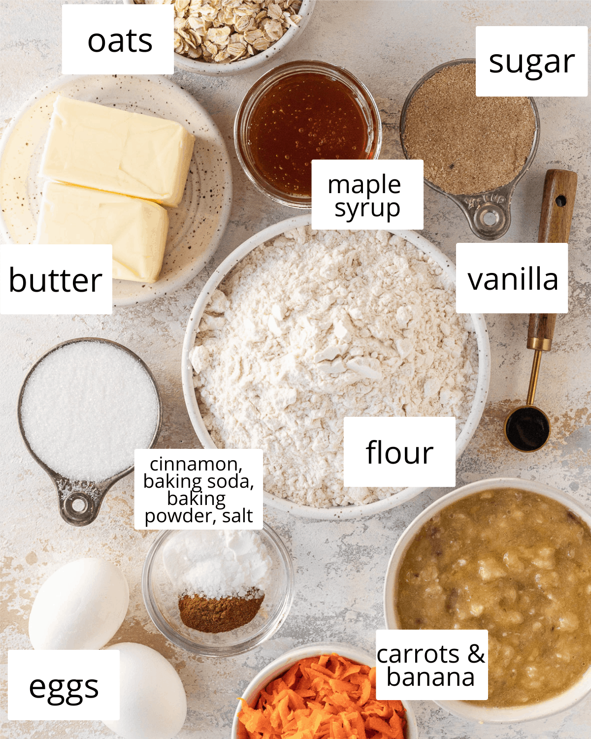 ingredients needed to make banana carrot muffins