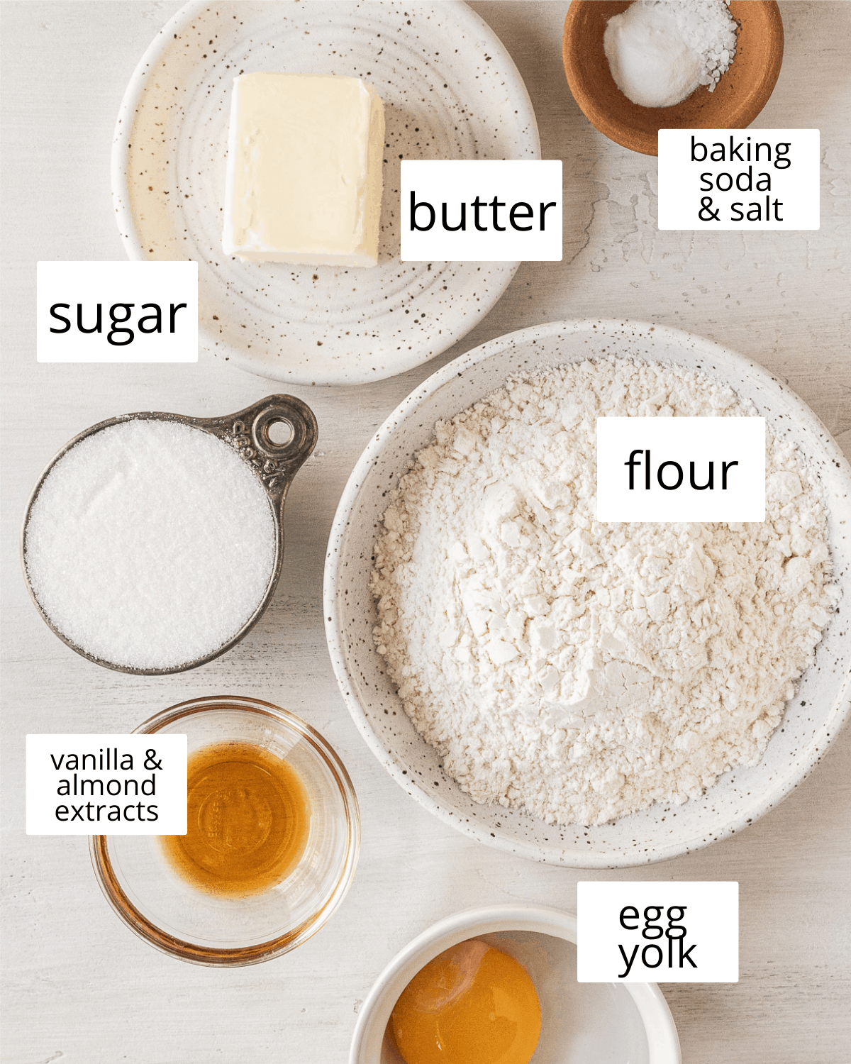 Ingredients needed to make small-batch sugar cookies